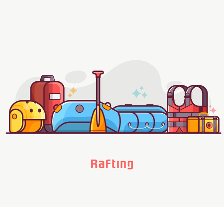 Rafting lifestyle concept banner with water hike equipment and gear. River hiking or boating elements. Such as inflatable boat, paddle, life jacket and helmet. Summer adventure illustration. Archivio Fotografico
