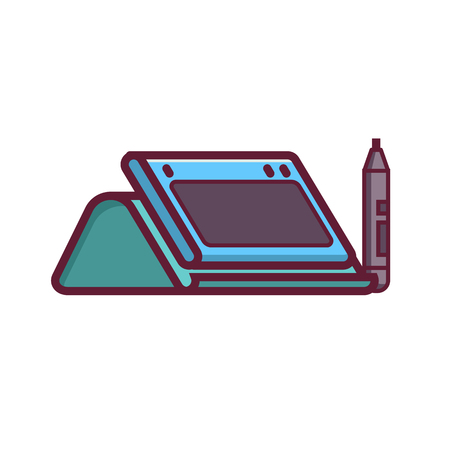 Graphic drawing tablet with stand and stylus icon in flat design. Line-art digital designer device isolated on white. 2d perspective view.