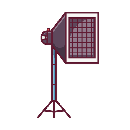 Soft box icon. Outline style studio flashlight with softbox diffuser, grid and stand isolated on white. Photography studio light vector illustration in flat design.