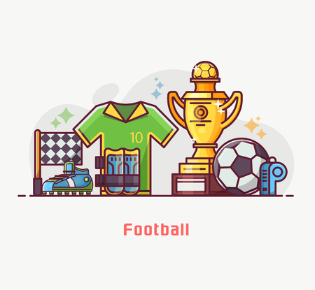 Footballer lifestyle banner with soccer training equipment and playing elements. Football championship concept with winner trophy cup, soccer ball, flag and other game essentials in flat design. Archivio Fotografico