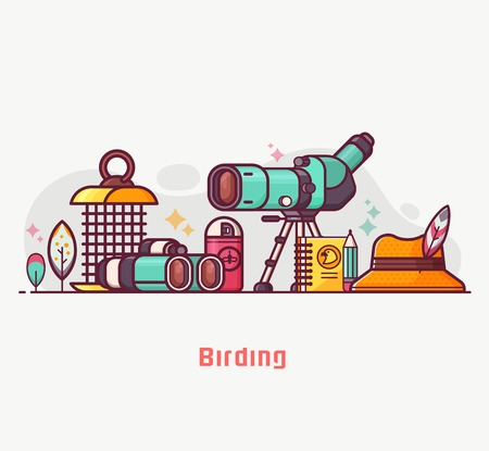 Birding lifestyle illustration with birdwatcher equipment and elements. Travel scope, binoculars, birder hat and feathers. Ornithology and birdwatching concept banner or background in flat design.