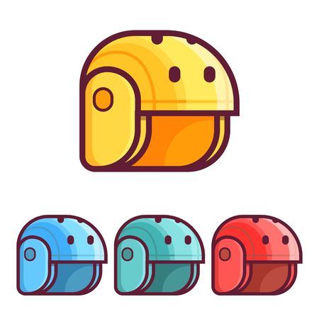 Skating, cycling and rafting helmets icons in flat design. Protective sport helm for active lifestyle. Yellow, blue and red.