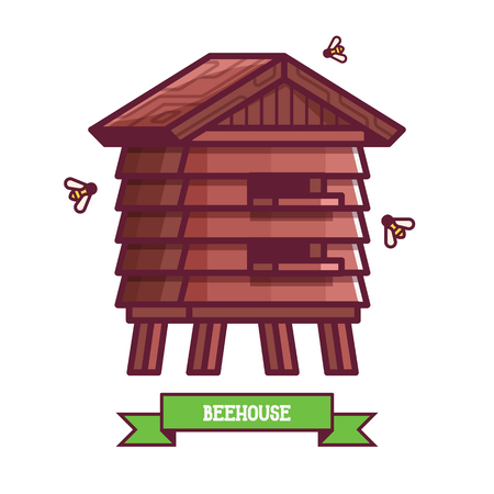 Wooden bee house and insect hotel icon. Garden bug home for beekeepers in flat design. Honey keeper beehive box for natural apiary.