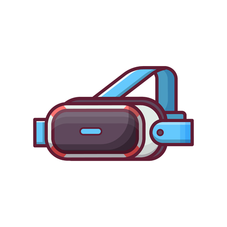 Virtual reality helmet icon. Vr glasses headset system for video gaming, 3d movies and pictures. Augmented reality modern technology head device in flat design. Archivio Fotografico