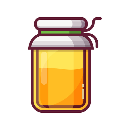 Full honey jar icon. Yellow apricot jam pot. Natural beekeeping product logo. Organic confiture or apiary raw healthy dessert in flat design.