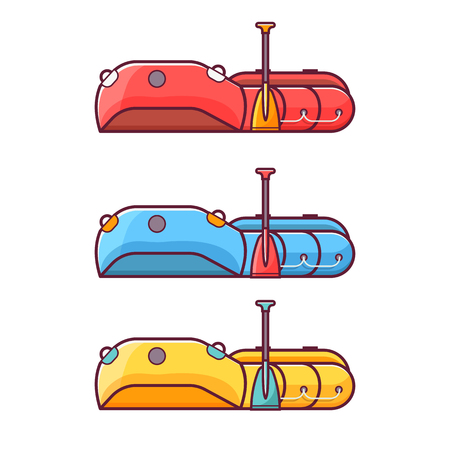 Inflatable rafting boat with paddle icon. Fishing rowboat with oar in red, blue and yellow colors. Rubber dinghy illustration.