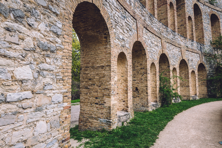 Roman theater ruins with archways on Ruinenberg hill in Potsdam on Bornstedt park area. Unusual tourist attraction in Potsdam, Brandenburg, Germany.