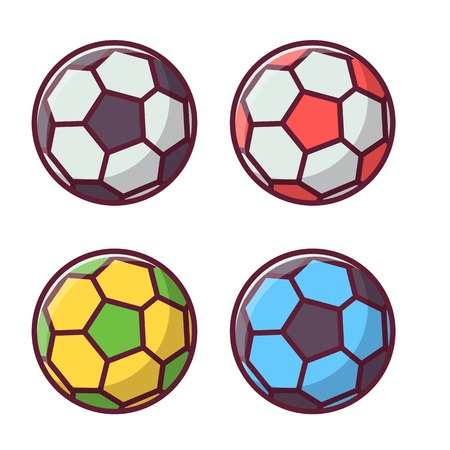 Colorful football and soccer balls set. Sport activity icons isolated on white. Multicolor footballer ball logo or label template.