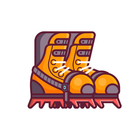 High mountain climbing boots icon in line style. Mountaineering and ice snow hiking climbing footwear emblem in flat design. Alpine touring and extreme sport shoes with crampons.