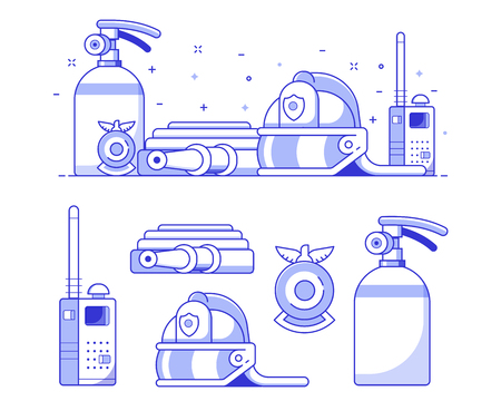 Fire department icons set in line art. Fire fighter banner with firefighting equipment. Such as helmet, extinguisher, hydrant and fireman badge in outline flat design.