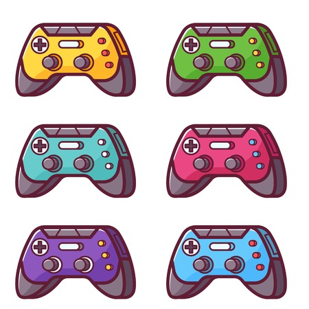 Video game controller icon. Joystick wireless gadget set. Colorful gamepad in flat design. Computer joy device in line art.