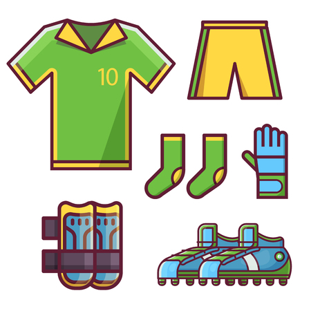 Soccer football team uniform icon set with goalkeeper glove, knee pads, soccer cleats or football boots, socks, t-shirt with footballer number and shorts. Complete sport outfit for men and women.