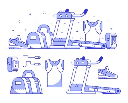 Jogging and running icon set with sport run equipment and accessories. Treadmill, bag, wristwatch and jogging boots. Sports and activity concept banner with gym and fitness icons.