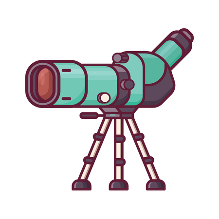Birdwatching monocular in line art. Travel spotting scope on tripod icon. Birding telescope for watching birds and wildlife in flat design.  イラスト・ベクター素材
