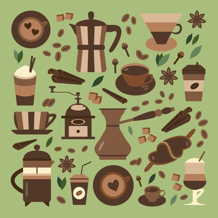 Coffee making icons. Hot chocolate, tea and spices organic menu elements. Coffee machines, drinks to go, products and bio beverages. Espresso, latte, cappuccino in glasses and cups.