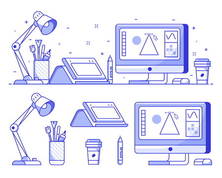 Graphic designer stuff and icons with digital illustrator or artist workspace with tools and equipment in line art. Digital drawing elements concept vector banner.