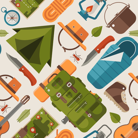 Summer camping pattern with forest adventure elements and icons. Trekking and hiking seamless background with camp tent, kayak boat, mountains and other tourist trip or expedition equipment in flat. Vettoriali