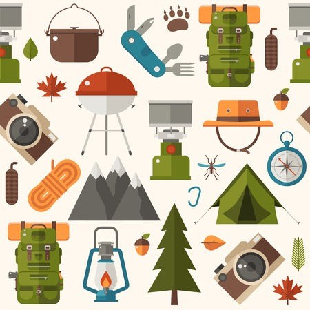 Hiking pattern with forest adventure and summer activity elements and icons. Picnic and camping seamless background with camp tent, barbecue and other tourist trip or expedition equipment in flat. Vettoriali