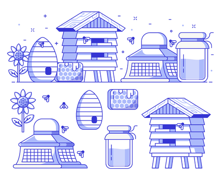 Apiary and beekeeping icon set with apiarist equipment and essentials. Such as beekeeper hat, honey jar, hive and bee house. Beer-garden concept banner illustration. Honey harvest icons and elements.
