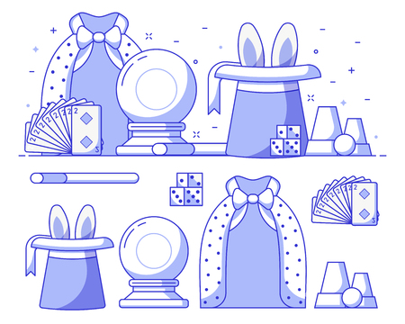 Conjurer or illusionist lifestyle banner with magician performance equipment. Such as black hat with rabbit ears, mystic ball, wand, playing cards and dice. Magic show concept illustration in flat. Archivio Fotografico