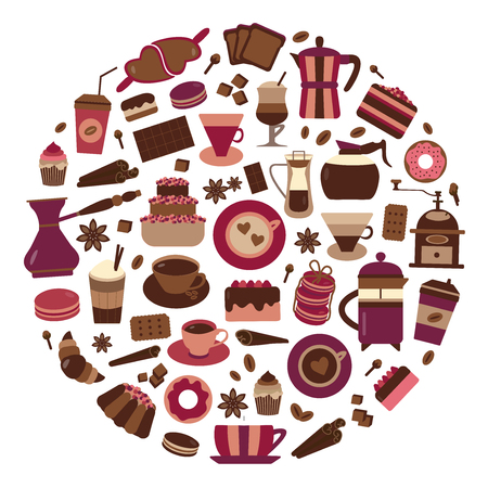 Coffee and bakery icon set. Coffee house and confectionery shop menu elements stylized in circle. Donuts, cupcakes, macaroons, croissants, cake and drinks to go. Pastry goods, chocolate and sweets.