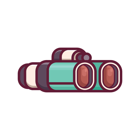 Green binoculars vector illustration in 2d perspective. Classic binocular icon isolated on white background. Archivio Fotografico