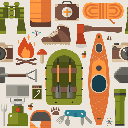 Summer hiking pattern with forest adventure elements and icons. Camping and rafting seamless background with binoculars, raft boat, mountains and other tourist trip expedition objects and equipment.