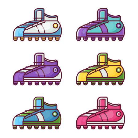 Different sneakers and football boots icons in flat design. Colorful sport shoes set. Archivio Fotografico