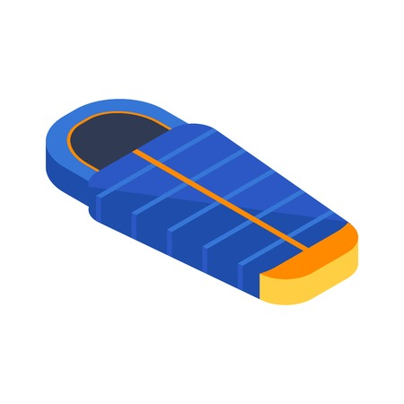 Isometric sleeping bag icon. Blue camping tourist bedroll in isometry.