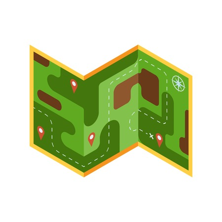 Isometric tourist map vector icon with forest area and pins. Navigation travel pictogram with marks and route in isometry.