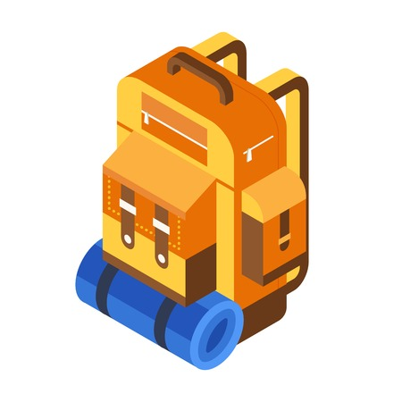 Retro hiking backpack isometric icon. Tourist rucksack with sleeping bag in isometry. Orange camping bag.