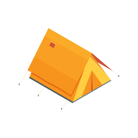 Isometric camping tent icon. Triangle orange tourist tent in isometry style.