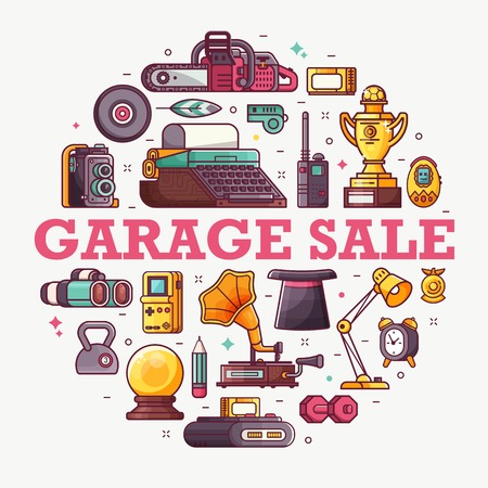 Vintage things and objects. Flea market or antiques shop banner. Old rarity elements for entertainment with lens camera, gramophone, typewriter and telephone. Abstract retro tech concept background. Stockfoto
