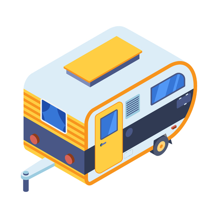 Camping trailer isometric illustration. Family motorhome in 3d perspective. RV camper icon in isometry style.