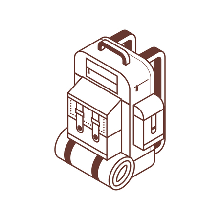 Retro hiking backpack isometric icon in line art. Tourist rucksack with sleeping bag in isometry. Minimalist camping bag. Stock Photo