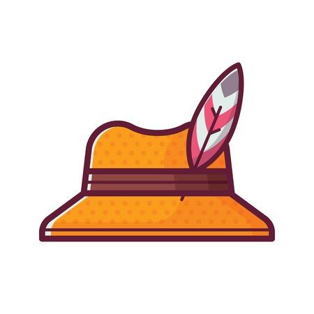 Tourist straw hat icon. Traveler birder cap with bird feather in flat design. Ornithologist head wear. Stock Photo