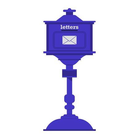 Retro blue letter box with envelope symbol vector illustration.