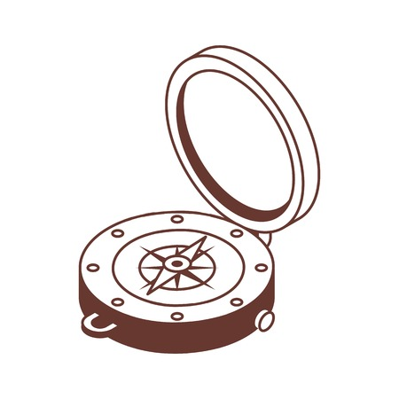 Line art compass isometric icon.