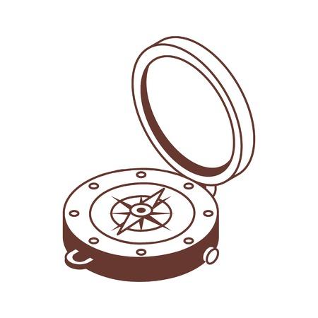 Line art compass isometric icon.