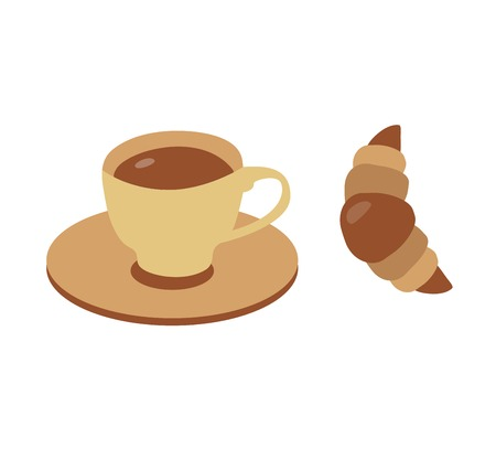 Coffee and croissant icons. Traditional french breakfast in flat design. Fresh organic cafe in cup with pastry. Morning cappuccino and bakery or coffee break with dessert in cartoon style.