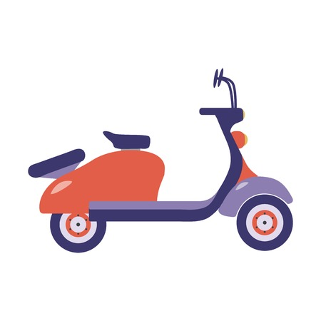 Red summer scooter or motor bike cartoon vector illustration. Parked motorcycle or retro motorbike icon in flat design.