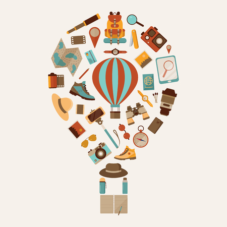 Air balloon travel or expedition elements stylized in aerostat shape. Adventure, explore and hiking icons.