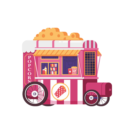 Retro vending popcorn cart in flat design. City street food trolley for pop corn selling. Summer kitchen auto kiosk isolated on white. Bike cafe or food on wheels concept. Stock Illustratie