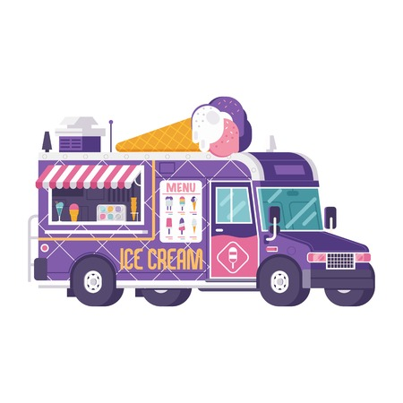 Retro ice cream truck isolated on white. Street food on wheels kiosk in flat design. Summer kitchen car vector illustration. Ice-cream van illustration. Vintage cartoon minivan with frozen sweets.
