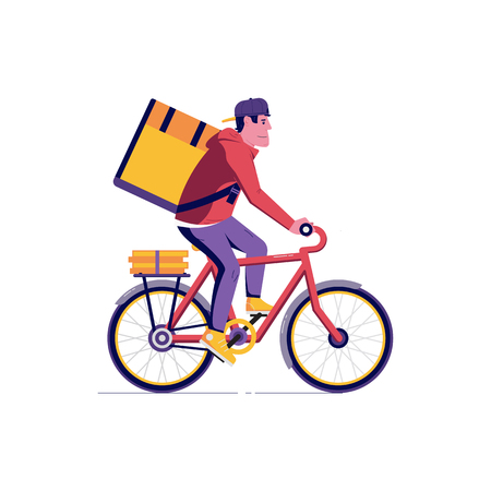 Courier bicycle delivery man with parcel box on the back. Ecological city bike delivering service illustration with modern cyclist carrying package. Food delivery boy.