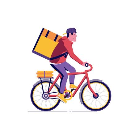 Corriere consegna biciclette uomo con cassetta dei pacchi sul retro. Bici da città ecologica che offre illustrazione di servizio con pacchetto di trasporto ciclista moderno. Ragazzo che consegna cibo.