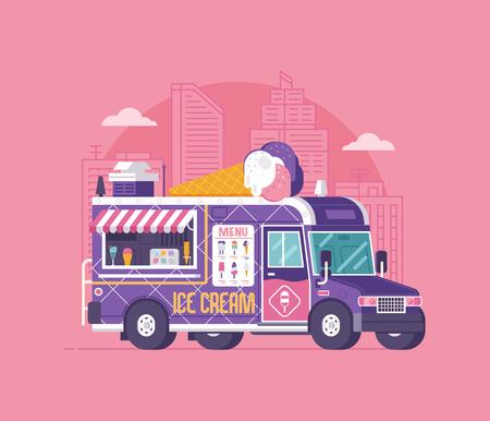 Retro ice cream van in flat design. City street food car. Summer kitchen auto kiosk vector illustration. Cartoon ice-cream truck illustration. Vintage cartoon minivan with frozen sweets. Zdjęcie Seryjne