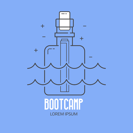 Beach bootcamp logo or label template in linear style. Summer camp logotype with message bottle in thin line design. Shipwreck letter outline icon.