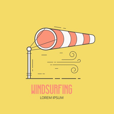 Windsurfing logo with inflated striped windsock on airport runway. Wind bag logotype or label template in thin line design. Windy weather meteorologic vector icon.