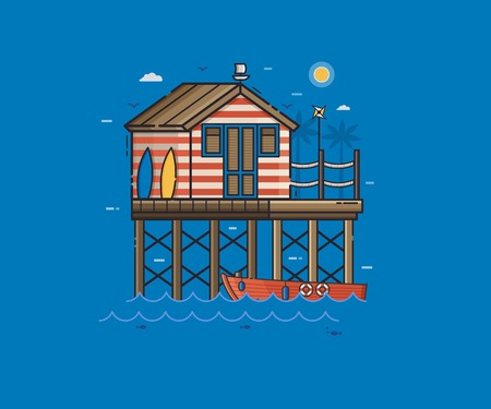 Sea side landscape with red stilt house and boat. Beach pier home building summer scene vector illustration. Wooden fisherman house on seaside background in flat design. Beach bungalow illustration.